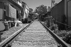 Gunsan, South Korea - May 14, 2017: Black and white photo of old railway village in Gyeongam-dong