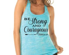 Be Strong and Courageous Joshua 1:9 Womens Running. Motivational Fitness. Workout Tank. Christian Clothing. Inspirational. Mother's Day Gift