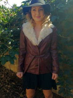 Vintage 60's70's Red Leather Jacket with Fur by desertdaisyvintage, $100.00