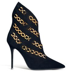 The Karine Boot by Giuseppe Zanotti. The golden chain detailing will be the first thing you notice about these black suede boots, but the bold silhouette is just as striking. Heeled Boots, Bootie Boots, Giuseppe Zanotti Heels, Walking Boots, Black Suede Boots, Harvey Nichols, Crazy Shoes, Luxury Shoes, Beautiful Shoes