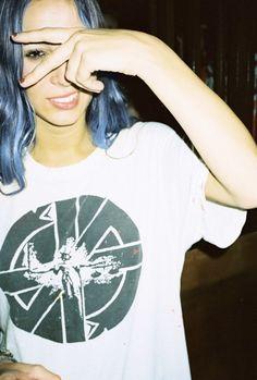 Pastel blue hair, soft grunge