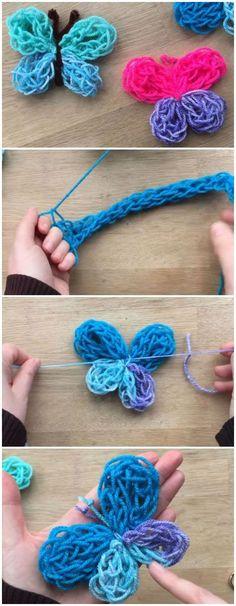 Einfacher Finger-Strickanleitung - DIY Garn-Schmetterling Easy Finger Knitting Instructions - DIY Yarn Butterfly # tinker for kids Finger Knitting Projects, Yarn Projects, Crochet Projects, Sewing Projects, Crochet Crafts, Arm Knitting, Knitting For Kids, Knitting Patterns, Crochet Patterns