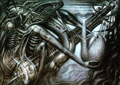 "Swiss Surrealist, H.R. Giger. Love this guy's work! Also, the designer of the original ""Alien"" monster."
