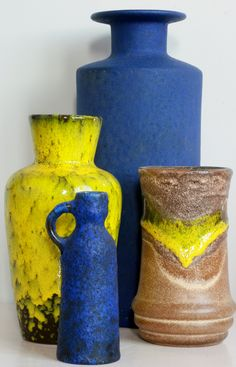 West Germany blues and yellows: Scheurich, Ruscha, Ceramano and Strehla