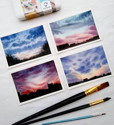 Aquarell Selecting House Adorning Cloth An necessary side of residence adorning is selecting residen Watercolor Landscape, Watercolour Painting, Painting & Drawing, Texture Painting, Van Gogh Watercolor, Watercolor Clouds, Aesthetic Painting, Aesthetic Colors, Aesthetic Drawing
