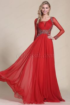 eDressit Long Sleeves Beaded Bodice Red Prom Dress (C36150602) #edressit #red_gown #fashion