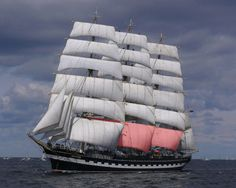 """annesewell: """" Russian tall ships to sail to Norway in Tall Ship Races (Video) Arrr me hearties, what I wouldn't give to sail on one of these! """" Why are Kruzenshtern's sails pink? Anybody?"""