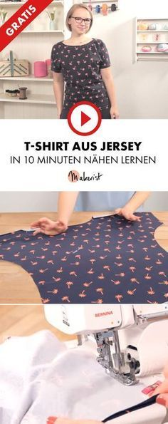 Nähanleitung Jersey T-Shirt in 10 Minuten mit Overlock oder Nähmaschine - kostenloses Schnittmuster! Sewing Patterns Free, Free Sewing, Sewing Tutorials, Dress Patterns, Knitting Patterns, Sewing Projects, Pattern Sewing, Sewing Shirts, Sewing Clothes