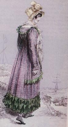 eft: Seaside Bathing Dress, 1815. It is unclear to me if this dress is simply to be worn to the bathing machine, which can be seen in the lower left of the picture, or actually into the sea. Most likely the former, since the bathing machines acted as changing rooms as well. Note the odd green and white slippers that match the dress, which is purple with green trim.
