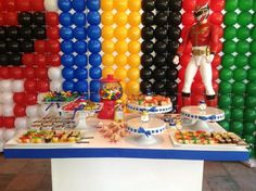 power rangers party ideas | Candy table at a Power Rangers themed kids birthday party at our ...