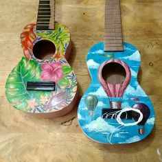 These are ukuleles that I painted for Uke Hub Kafe. I was given freedom to come up with my own designs so I went the tropical=whimsical-wanderlust route. These are acrylic on solid wood mahogany. Painted Ukulele, Solid Wood, Cool Art, Whimsical, Tropical, Bird, Cool Stuff, Outdoor Decor, Painting