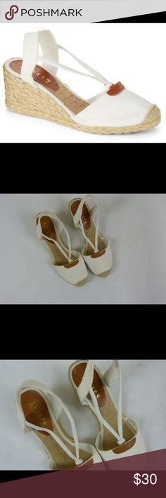 """Lauren Ralph Lauren Cala Espadrille Shoes Sz 9.5 Lauren Ralph Lauren Cala Espadrille Wedges Shoes Sandals Size 9.5 9 1/2  Gently used No flaws 2.5"""" wedge heel White Lauren Ralph Lauren Shoes Espadrilles"""