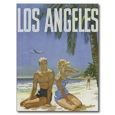 Art vintage de tourisme de Los Angeles Carte Postale | Zazzle