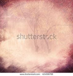 Vintage background vignette with a silhouette of trees on a cloth, cream. An abstract background with the translucent image of trees and the darkened edges. Basis for imposing of the text.