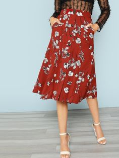 30c3578073 Product name: Button Front Floral Midi Skirt at SHEIN, Category: Skirts