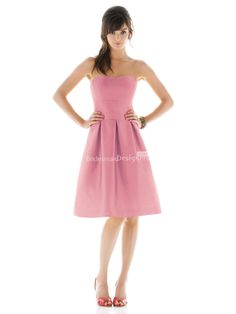 fairy pink knee length sleeveless a-line pleated bridesmaid dress with wide waistband. US$ 180.00 off US$99.00