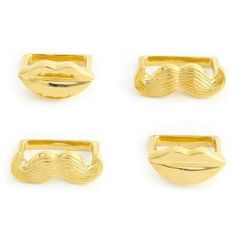 Jonathan Adler Brass Muse Napkin Ring Holder Lips & Mustache Set of 4