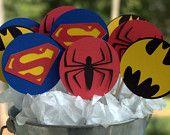 24 Superhero Theme Cupcake Toppers Superman Spiderman and Batman. $16.00, via Etsy.