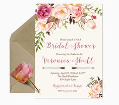 Bridal Shower Invitation, Bridal Invitation, Shower Invitation, Invitation Bridal Shower, Floral Bridal Shower Invitation, Bridal Brunch  ★★ FREQUENTLY ASKED QUESTIONS ★★ • • answered at bottom of this listing • • ★★ MATCHING ADD-ONS ★★ • • bottom of this listing • •  • • • • • • • • • • • • • WHAT YOU GET • • • • • • • • • • • • • ♥ A 5x7 digital JPEG invitation that will be customized with your information. ♥ An 8x11 JPEG with 2-5x7s on one page for economical printing. ♥ Print…