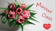 Тюльпаны из Лент Подарочный Горшочек с Цветами