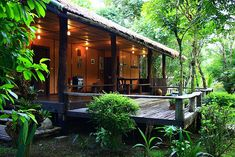Architecture – Enjoy the Great Outdoors! Hut House, Tiny House Cabin, Jungle House, Forest House, Bamboo House Design, Small Backyard Gardens, Tropical Houses, Little Houses, Eco Friendly House