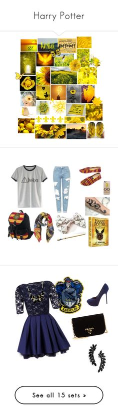 """""""Harry Potter"""" by flowers-and-flamingos ❤ liked on Polyvore featuring art, Casetify, Topshop, Lipsy, Sergio Rossi, Cristabelle, Emi Jewellery, Prada, Hudson and Gucci"""