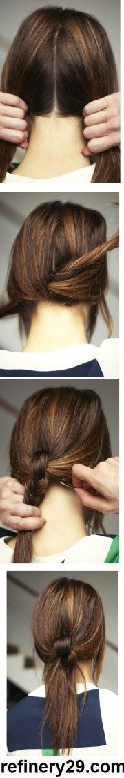 Knotted ponytail. Part down the middle and make two sections. Then tie those two sections of hair into a knot. Knot once more and secure the two knots together with bobby pins at the nape of the neck. TA DA!