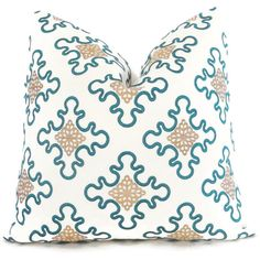 Embroidered Teal and Gold Pillow Cover, Square or Lumbar pillow - Accent Pillow, Throw Pillow