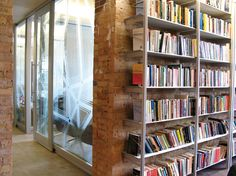 Shelves against brick
