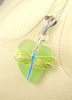 Dragonfly Necklace, GENUINE Sea Foam and Sea Glass. By seaglassgems4you,+$45.00