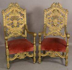 Pair of Italian Renaissance Giltwood Walnut Arm chairs : Lot 199A