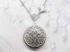 Silver Locket Necklace  Silver FLOWER LOCKET  Celtic by birdzNbeez, $32.00