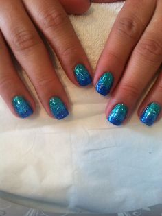 Glitter blue ombre nails #blue #glitter #ombre Blue Ombre Nails, Different Color Nails, Blue Glitter, How To Do Nails, Hair And Nails, Nail Ideas, Nail Colors, Gel Nails, Nailart