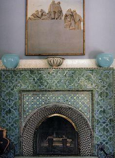 Moroccan fireplace, green aqua blue tile, interior design, mosaic