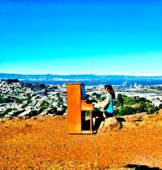 random piano placed at the top of Bernal Hill in San Francisco