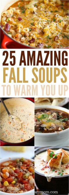 Here are yummy fall soup recipes to make when the weather starts cooling down. Here are yummy fall soup recipes to make when the weather starts cooling down. 25 recipes that the entire family will love! Fall Soup Recipes, Fall Dinner Recipes, Pumpkin Recipes, Fall Crockpot Recipes, Fall Meals, Crock Pot Soup Recipes, Quick Soup Recipes, Cooking Pumpkin, Cheap Recipes