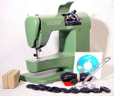 Green Elna Super-Matic Sewing Machine 1956 In Perfect Working Order by SurrendrDorothy, via Flickr