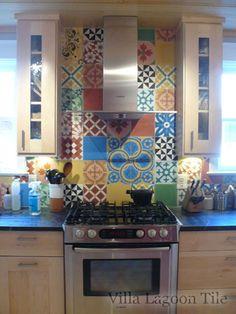 Splashback patchwork tile in England