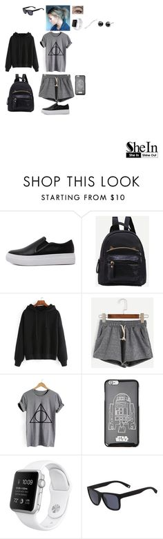 """""""Grey Drawstring Shorts in SheIn!"""" by leacousty55 ❤ liked on Polyvore featuring WithChic, Forever 21, Lacoste and Argent"""