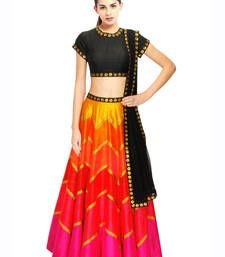 Buy Black Hand Embroidered Silk Designer Lehenga with Blouse lehenga-choli online