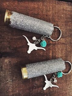 Texas Longhorn Bull Head Keychain with 12 Gauge by AdelynElaines Shotgun Shell Crafts, Shotgun Shells, Glitter Cups, Silver Glitter, Jewelry Crafts, Handmade Jewelry, Bullet Crafts, Sporting Clays, Acrylic Keychains