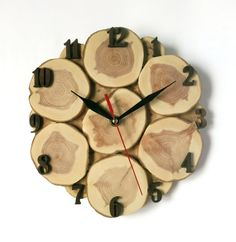 Wall clock, tree slice, tree wall wooden clock rustic style (8 1/2 inches)
