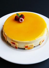 Gourmet Baking: Vanilla Bean Cheesecake with Mango Glaze for A Birthday