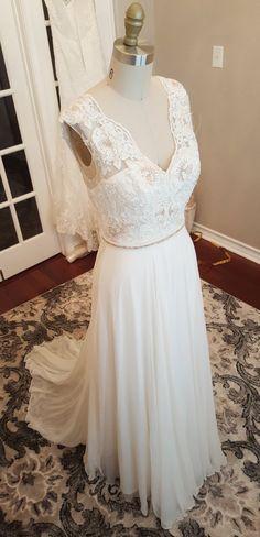 Rose Gold Floral Lace Applique wedding dress chiffon sleek