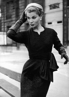 Stella in Jacques Fath's slim wool dress, photo by Jacques Rouchon, Paris, 1955