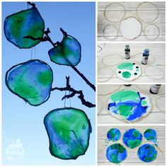 stained glass Earth Day craft made from glue,string and food coloring or liquid watercolor
