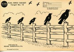 Vintage Shooting Target/Crows on a Fence by WindsorPlaceAntiques Shooting Targets, Shooting Sports, Shooting Range, Rail Bird, Paper Targets, Rifle Targets, Outdoor Range, Chihuahua Mexico, Pictorial Maps