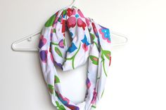 Infinity Scarf. Circle Cowl Scarf. Bright Floral Jersey Cotton. For Her. Women Spring Fashion. Scarf Accessory. Rainbow Garden.. $24.00, via Etsy.