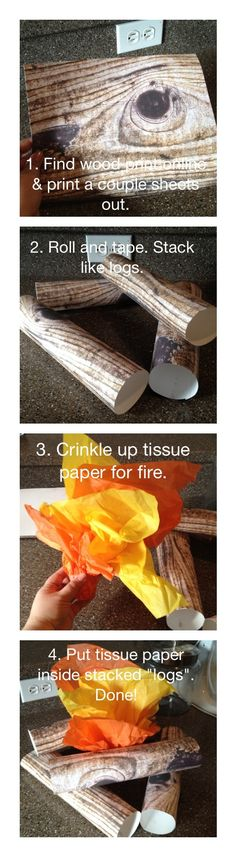 "How to make pretend campfire!!! Scatter ""wood"" around house and turn off lights. Using flashlights go around and gather wood ! Use battery tea lights in her tissue paper"