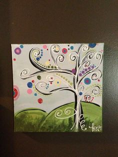 Funky Tree Canvas Painting by Grassroots63 on Etsy, $25.00